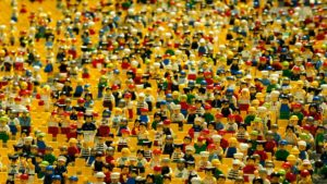lego crowd, royalty free