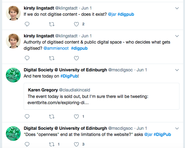 Twitter thread about digitising content