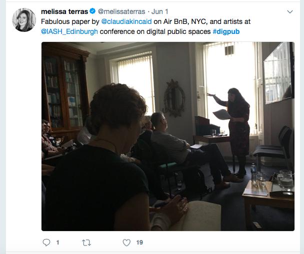 Tweet about Karen Gregory's talk